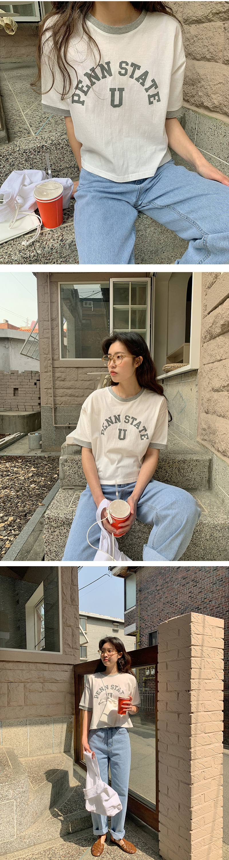 Color lip print cropped T-shirt