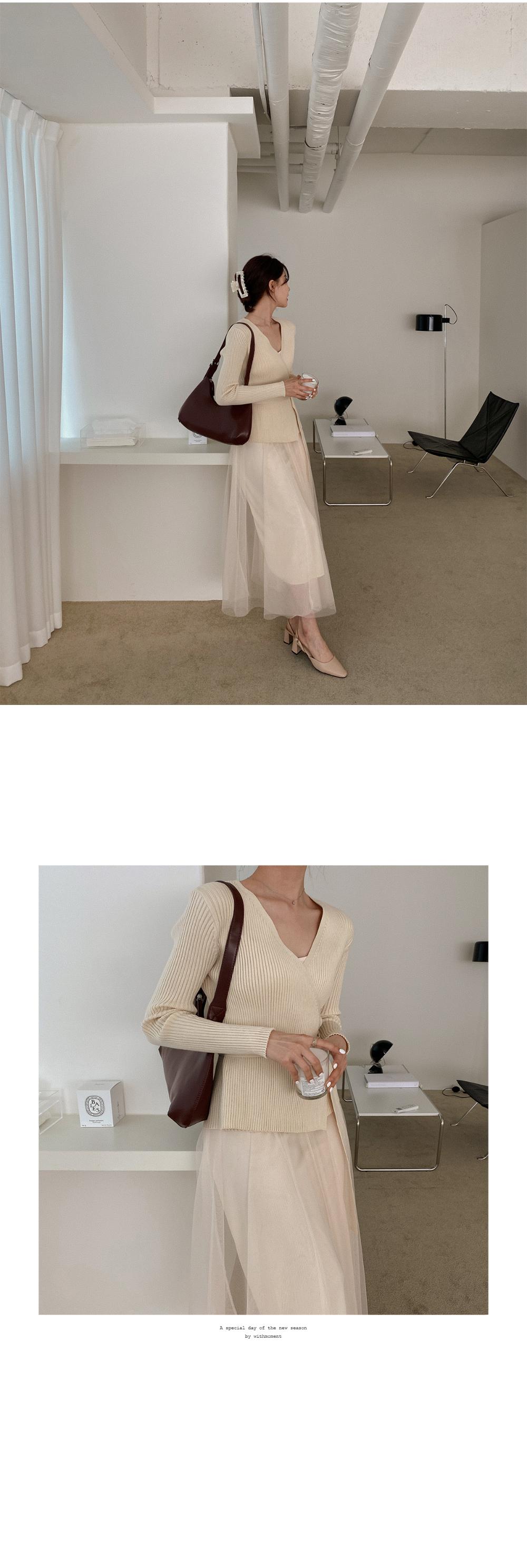 Ribbed Wrap Knitwear & Slip Dress