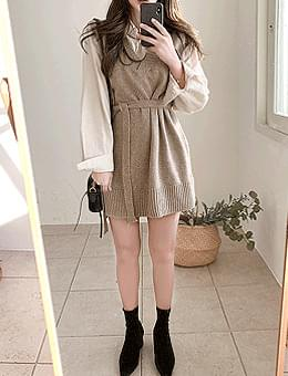 Crispy Toast Wool 50% Waist Strap Unfoot V-Neck Knitwear Vest Mini Dress