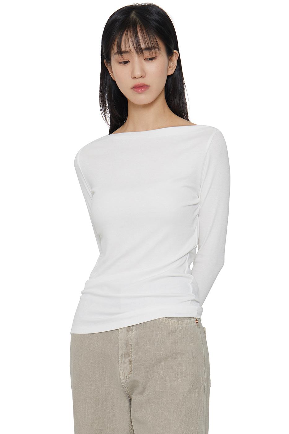 Basic Ribbed Boat Neck T-Shirt