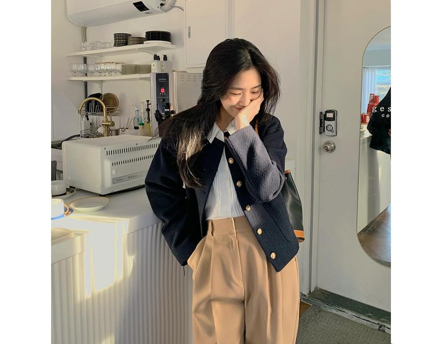 Tweed round short jacket
