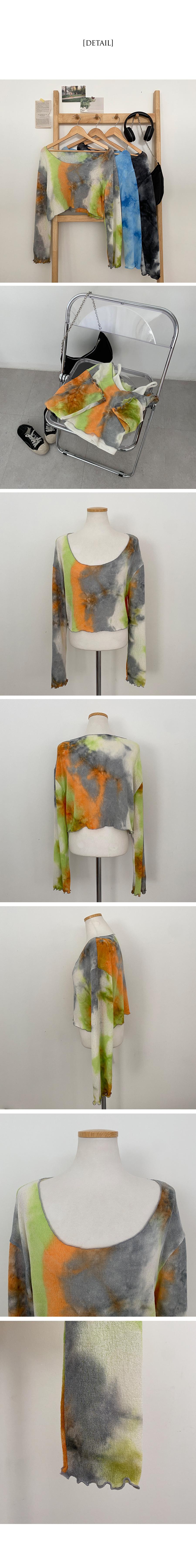 Fluffy Water Print Ruffle Crop Knitwear T-shirt