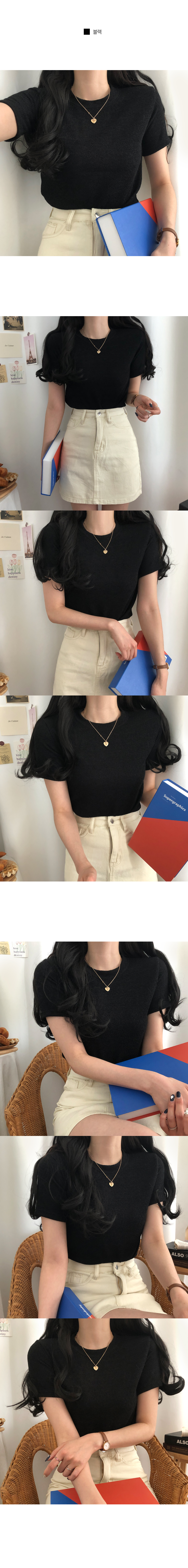 The most basic line of Ribbed short-sleeved T-shirt