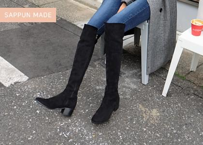 Flesh Spandex Long Boots