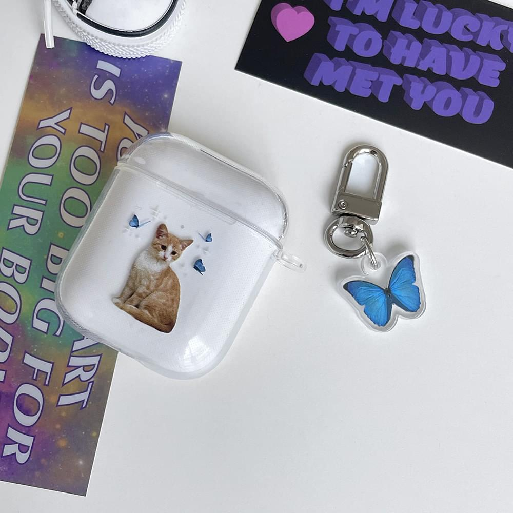 Cat Blue Butterfly Transparent Jelly Air Pod Case