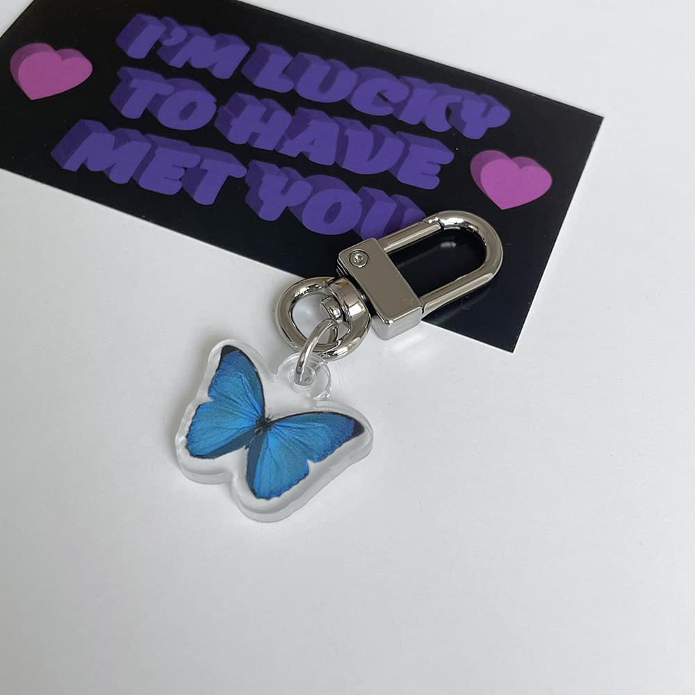 Blue Butterfly AirPods Key Chain Acrylic Keyring