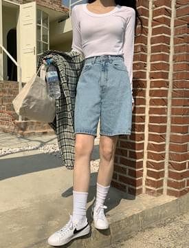 High waist half denim pants