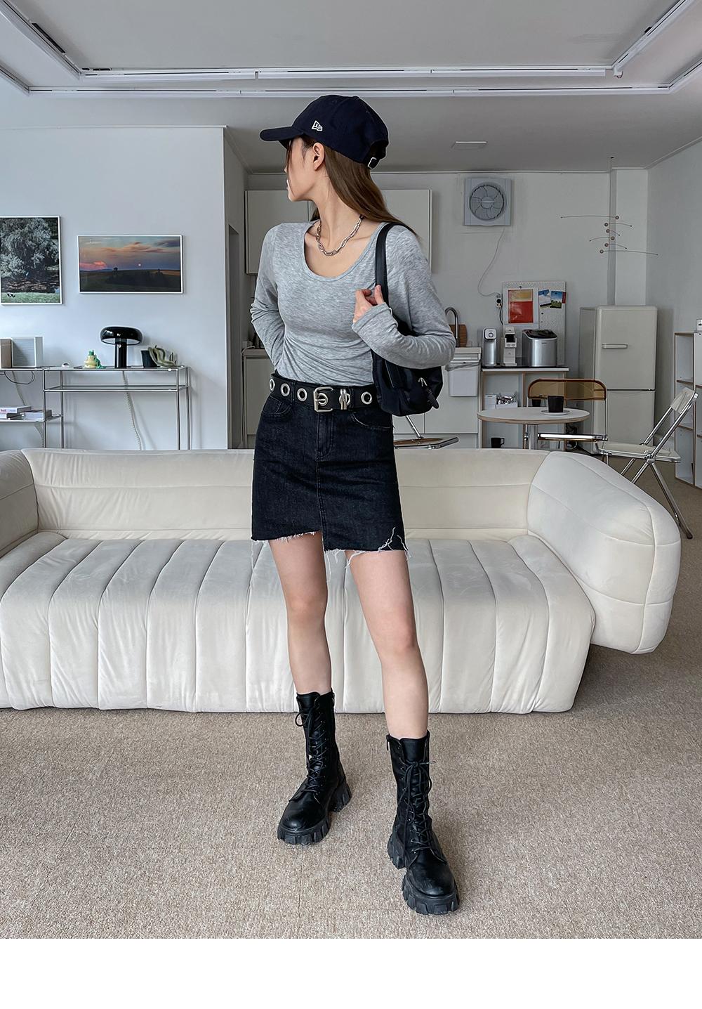 Relia Unfoot Denim Mini Skirt Pants