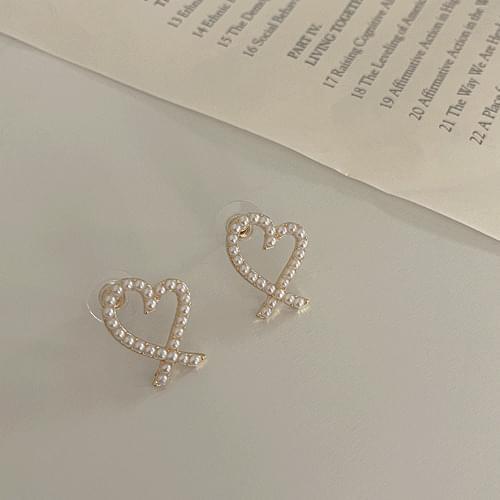 Pearl Lovely Heart Earrings A#YW012