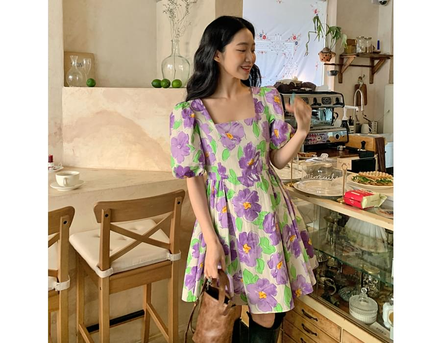 Blooming Square Neck Puff Dress