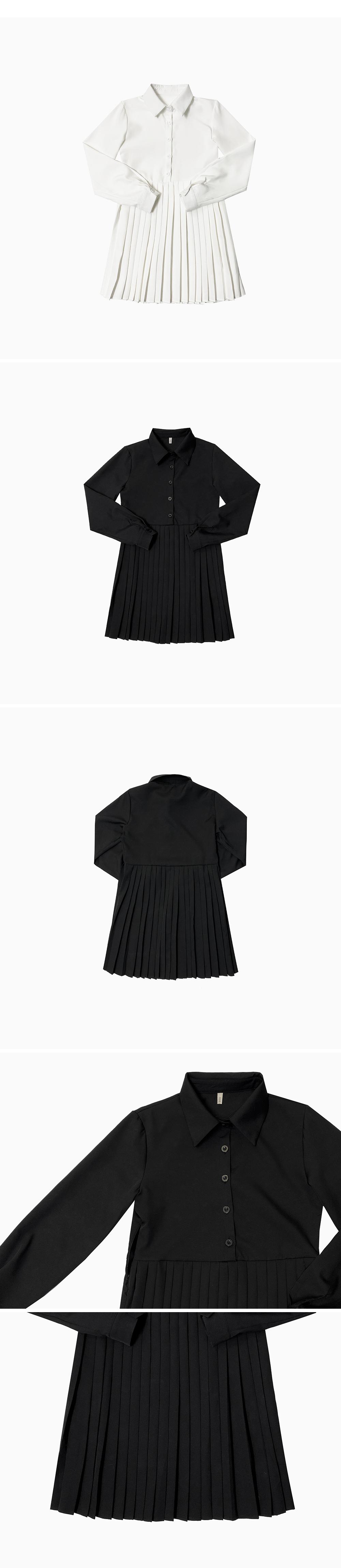 Clean pleated collar Dress