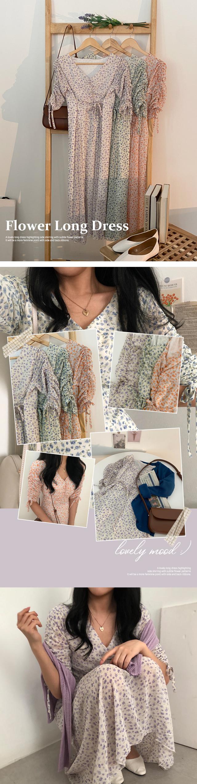 Roshal Flower Shirring Long Chiffon Dress