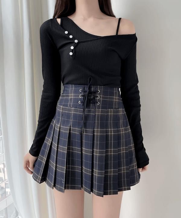 Corset Check Mini Skirt 2color