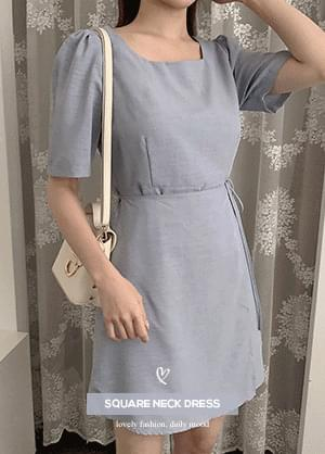 Delkning Square Neck Linen Wrap Dress