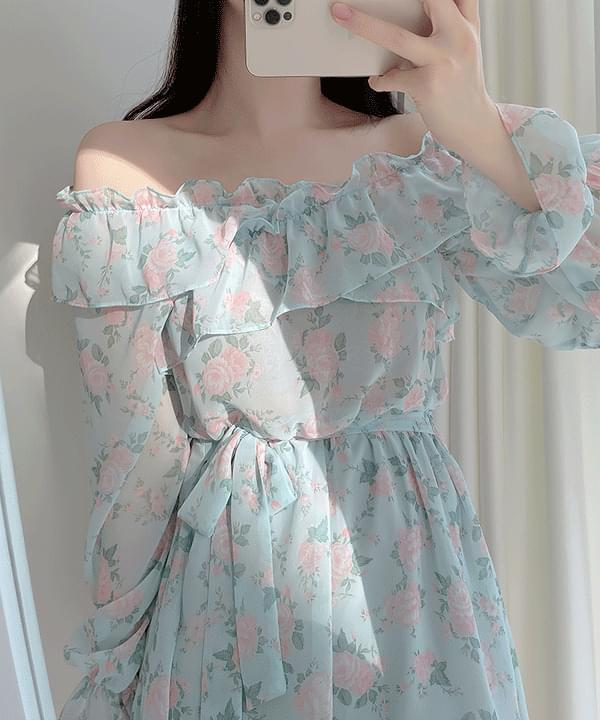 Sorghum Flower Off Shoulder Dress 2color
