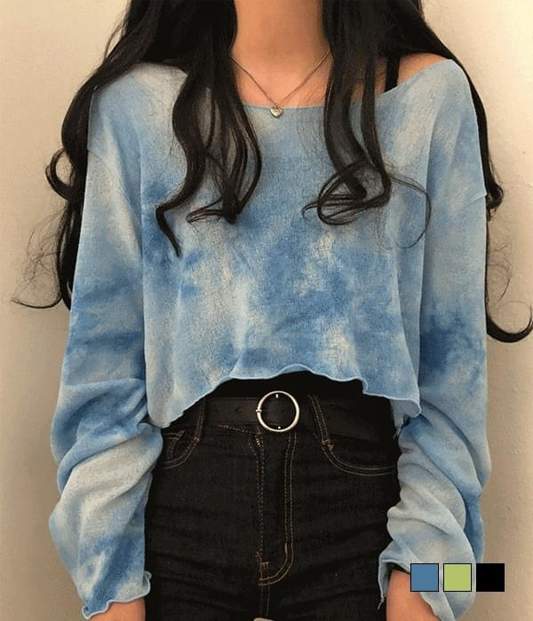 Fluffy Water Print Ruffle Crop Knitwear T-shirt (Delayed delivery)