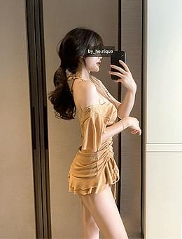 Over 1,000 Bagel Chips Shirring Ribbon Ruffle Halter Wrap Off Shoulder Dress Bikini