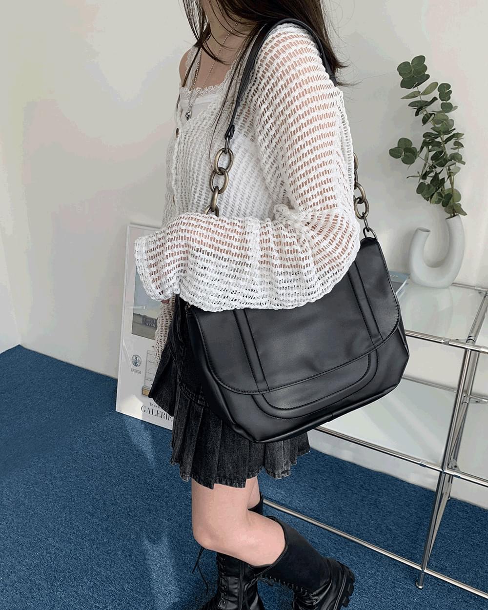 Carpe Chain Strap Black Leather Big Shoulder Bag