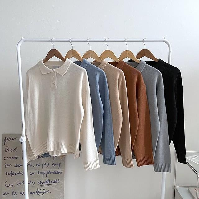 Cookie Color Button Knitwear