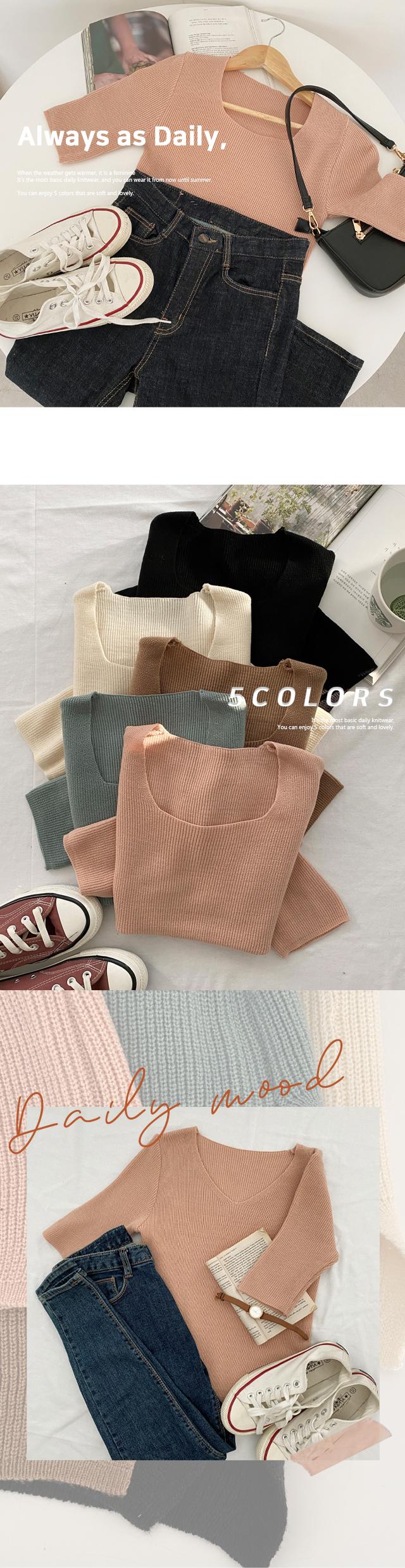 Robero Square Neck 5 Knitwear
