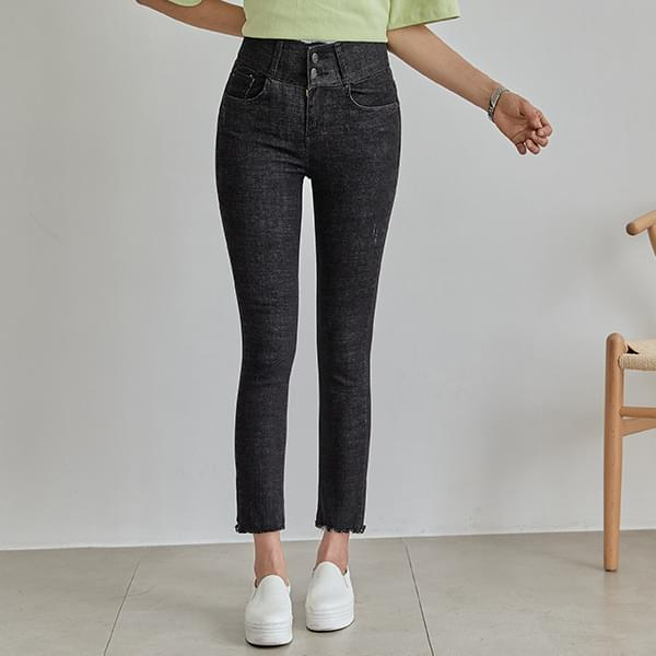 Basic two-button banding skinny jeans #74857