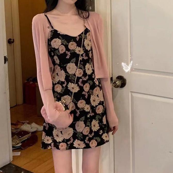 Flower Dress cardigan set