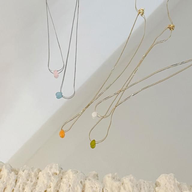 5-color minimalist gemstone necklace