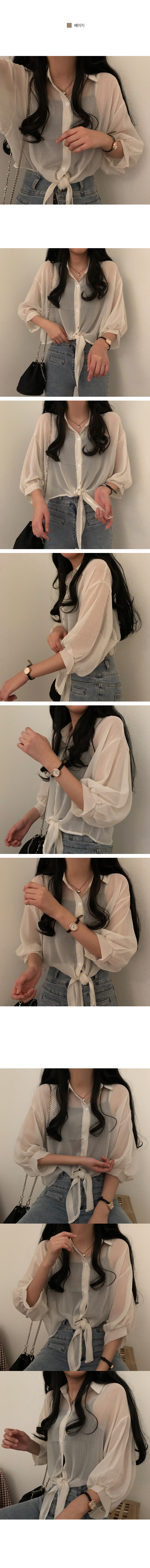 Stingray fit sheer tie blouse
