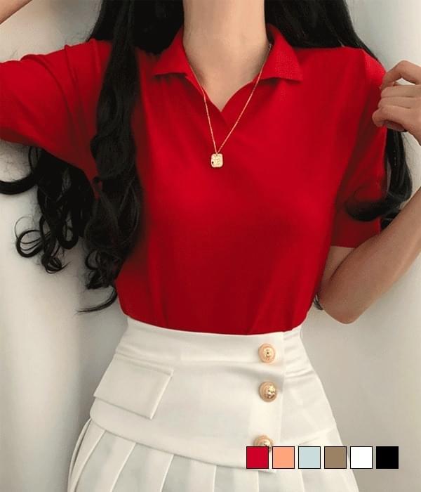 Cash Edition Collar Short Sleeve Knitwear