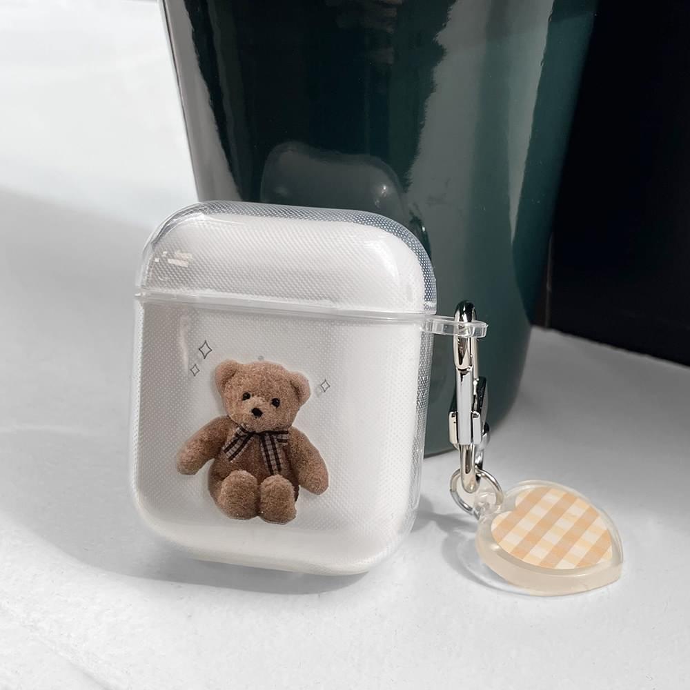 Ribbon Bear Transparent Jelly Air Pod Case