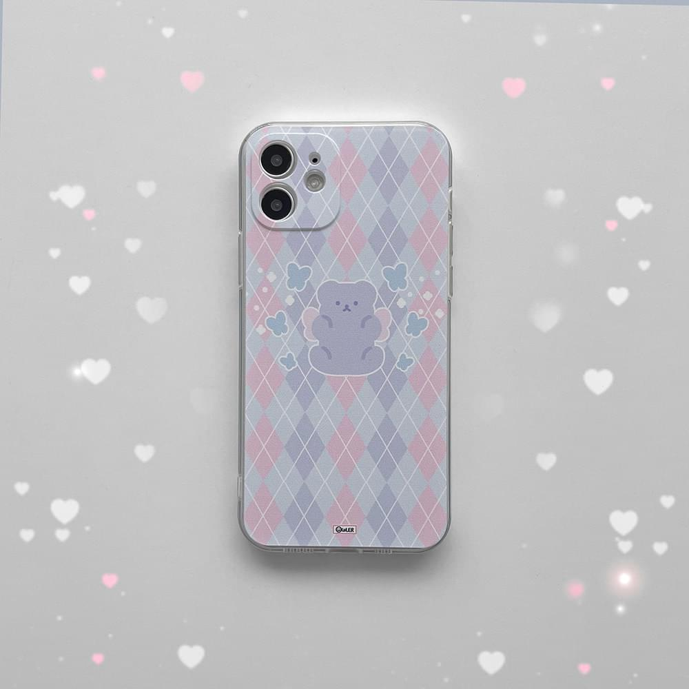 Argyle Bear Angel Full Cover iPhone Case