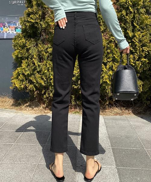 Black Spandex Slack Fit Straight Cotton Pants