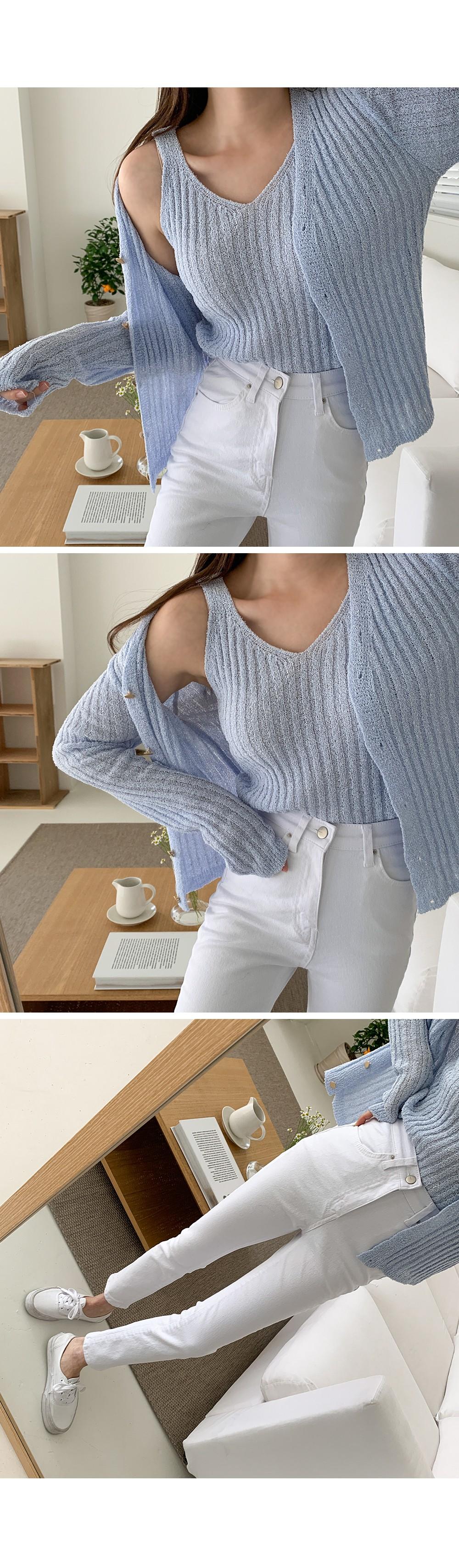 Lamy Ribbed SET button cardigan + Sleeveless Cardigan set Product: D