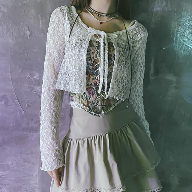 Lace loli cropped cardigan