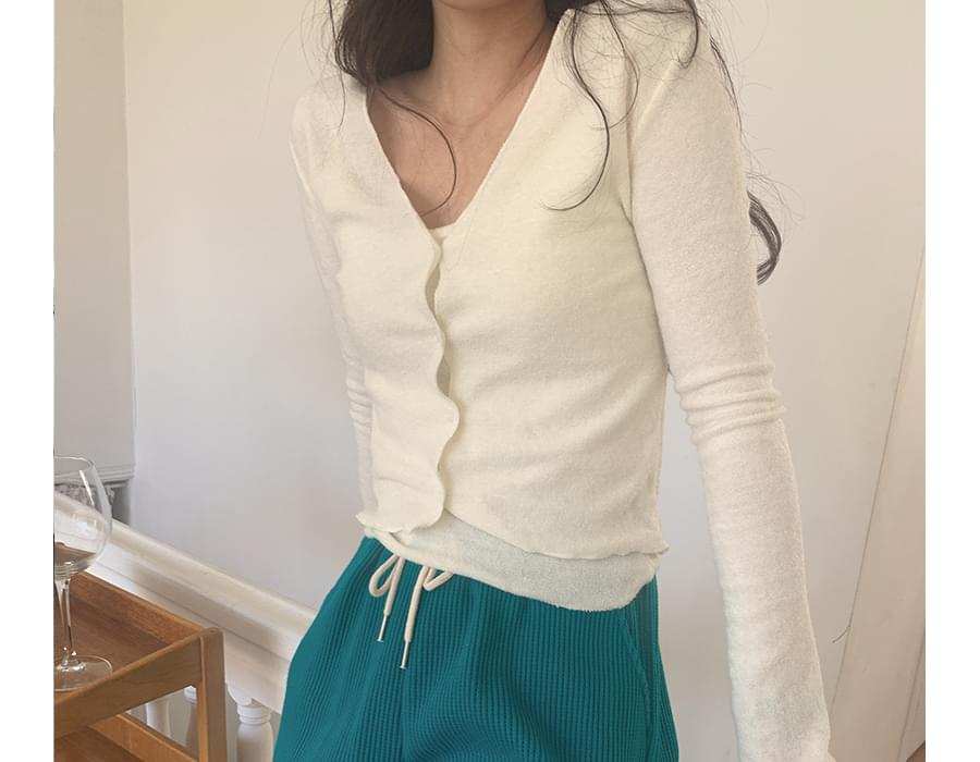 Snug crop cardigan & sleeveless SET