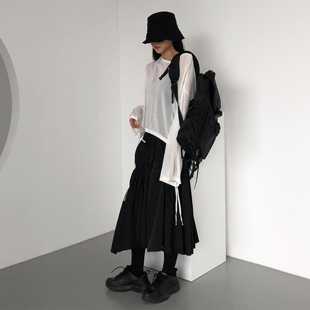Cock Shirred Long Skirt