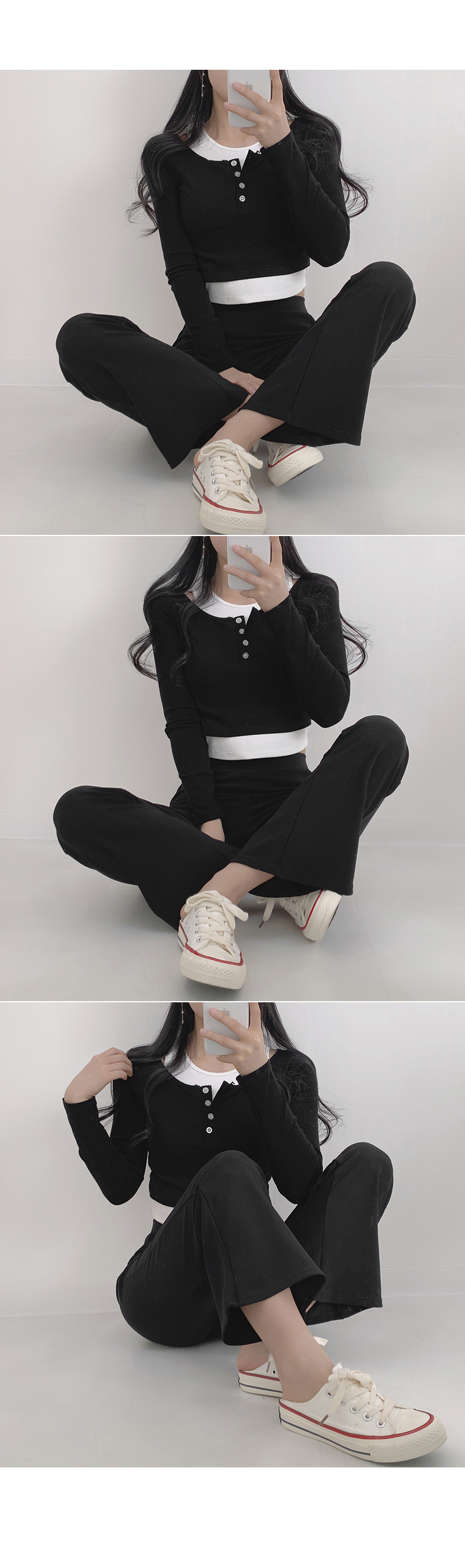 Outer button layered cropped tee