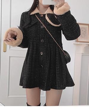 Noka tweed pleated half short coat