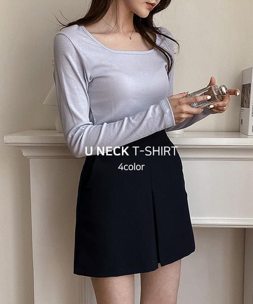 Pastel Square Neck T-Shirt-4color