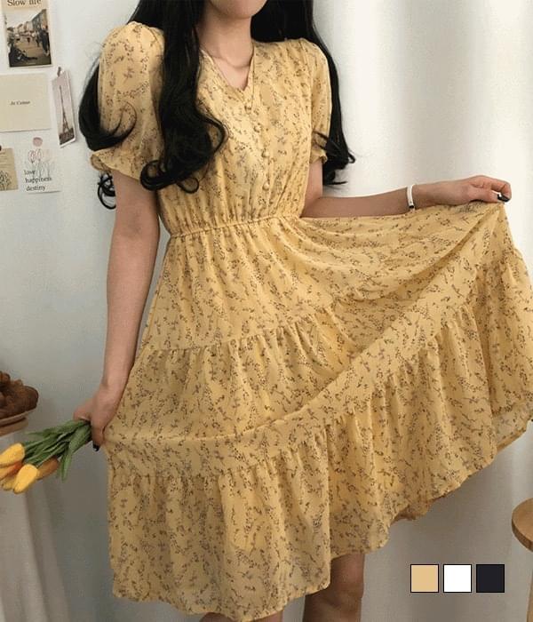 Citron Flower Bean Button Cancan Dress