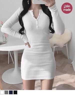 Not tight button button long sleeve Dress