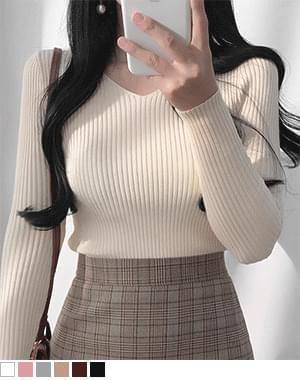 Tangy Ribbed Slim V-Neck Knitwear