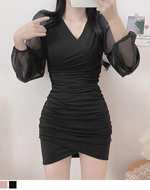 Opuring V-Neck wrap sleeve see-through Dress
