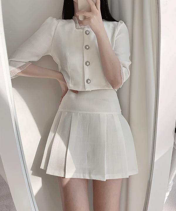 Tinkerbell tweed pearl blouse 2color