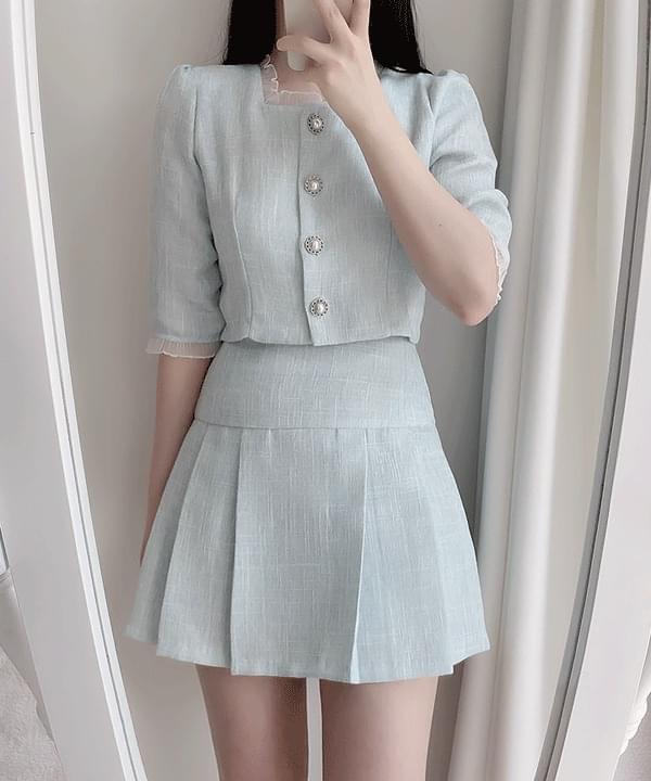 Tinkerbell pleated tweed skirt 2color