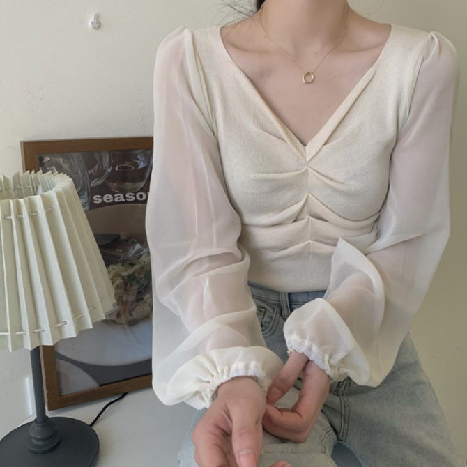 Chiffon Shirred Knitwear Blouse