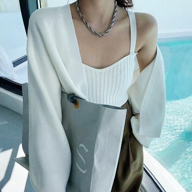 Slim Camisole Knitwear Cardigan Set
