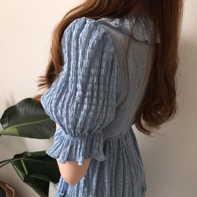 Simple frill wrap long Dress
