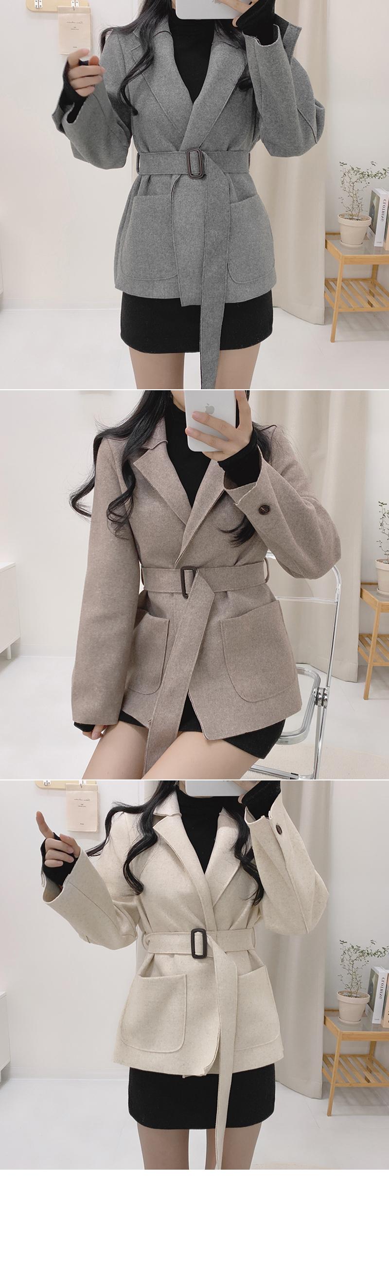 Cuming waist belt half coat jacket