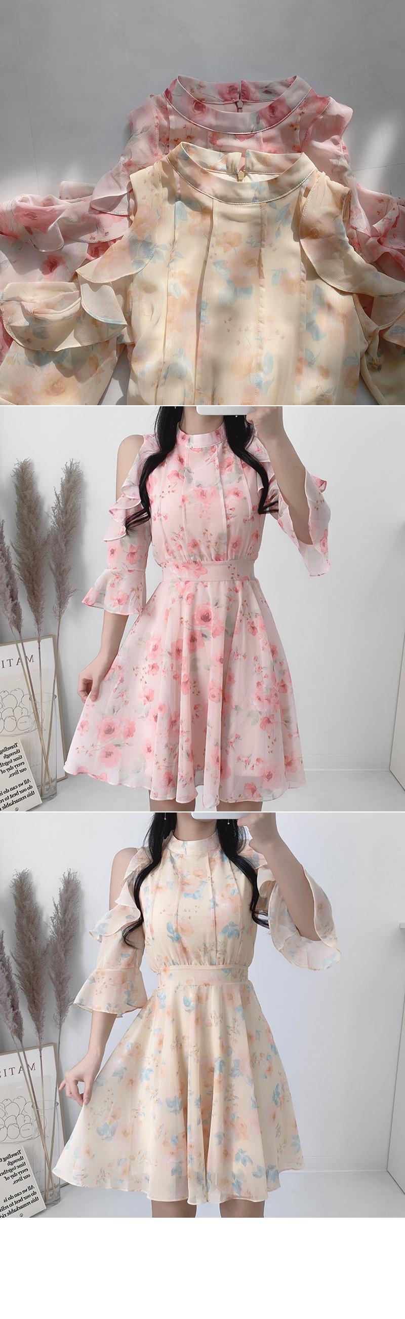 Bla Flower Shoulder Split Dress